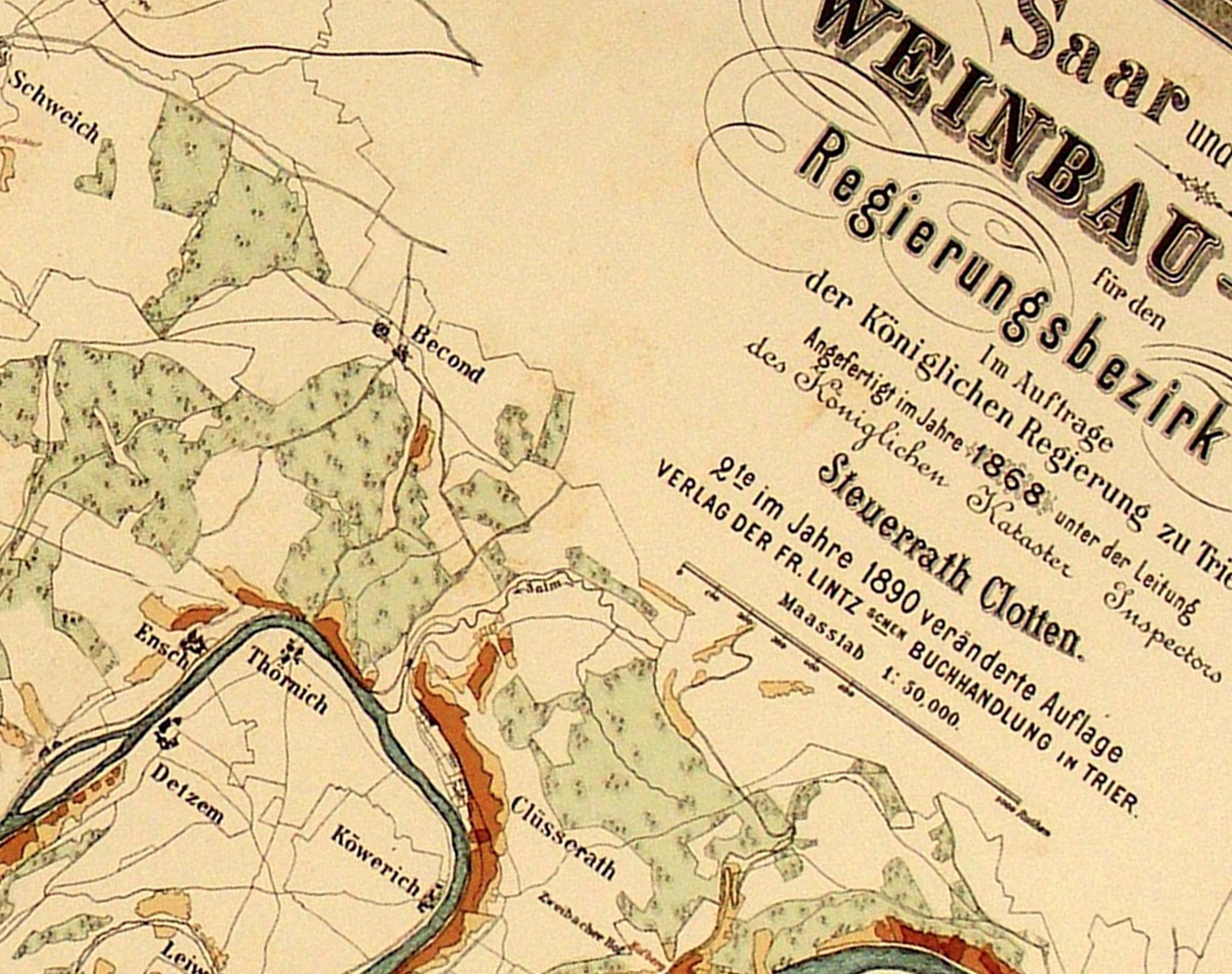 1868 Mosel Map Rieslingfeier